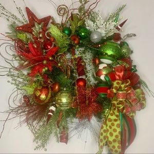 Christmas Fun Whimsical Bright Red & Green Wreath